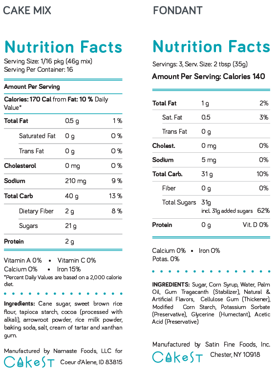 Nutrition facts for cakest cake mix Nutrition facts for cakest fondant